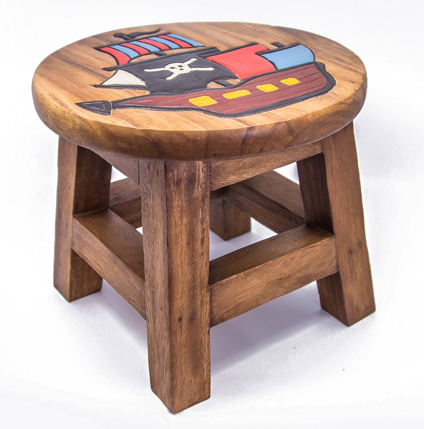 Children S Wooden Step Or Stool Pirate Ship Design